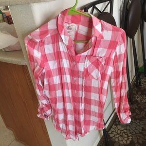 Pink checkered shirt mossimo